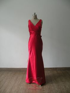 Handmade Custom V Neck Red Pleated Bows Satin by angeldreamprom, $99.99