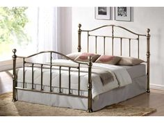 Victorian Brass Bed Frame - - A traditional brass style bed frame with elegant lines and beautiful finish. The main frame is a antique brass finish which looks spectacular. The base is fully sprung with sprung wood slats. A very popular frame in both and Victorian Bed Frames, Vintage Bed Frame, Vintage Crib, Ottoman Storage Bed, Bed Storage, Antique Iron Beds, Antique Brass, Cast Iron Beds, Oak Beds