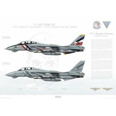 "F-14D Tomcat VF-2 Bounty Hunters, NE100 / 163894 and NE105 / 163418. CVW-2, USS Constellation CV-64 - Last Tomcat Cruise, 2003   Size: Standard - 24 x 16"" / 594 x 420mm"