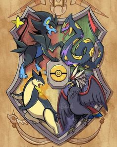 A hybrid of two childhood loves. Which world would you rather be in, Pokemon or Harry Potter? Trainer or wizard? Featuring Luxray for Gryffindor, Seviper for Slytherin, Braviary for Ravenclaw, and Typhlosion for Hufflepuff. Pokemon Mew, Pikachu, Pokemon Life, Pokemon Fan Art, Pokemon Fusion, Pokemon Merchandise, Hogwarts, Slytherin, Digimon