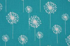 Fabric by the Yard :: Premier Prints Small Dandelion Printed Cotton Drapery Fabric in True Turquoise - Fabric Guru.com: