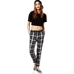 River Island black and white check plaid  trousers River island, edgy cool or preppy however you want to style these. U.K. Size 10 /us 8 medium, hemmed to fit my 5'2 but would be cuter ankle crop on someone taller, from Asos, pair with leather jacket and loafers for geeky cool vibe. Wear with my H&M mohair oversized cardi or my JCrew cream cable knit sweater and my Topshop black lace up boots!! River Island  Pants Trousers