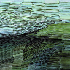 Jeanne Opgenhaffen's 'The Search for Green', overlayed porcelain lamella combine to produce rhythm & movement in her wall-mounted art. She is based in Belgium. | Decanted