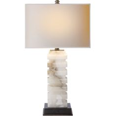 Chart House from Visual Comfort designed by Sandy Chapman Rectangular Stacked Table Lamp in Alabaster with Natural Paper Shade CHA8960ALB-NP