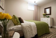 Basement bedroom, Income Property HGTV - color scheme only Basement Guest Rooms, Basement Apartment, Bedroom With Bath, Dream Bedroom, Basement Window Treatments, Backboards For Beds, Income Property, Basement Makeover, Decorating Small Spaces