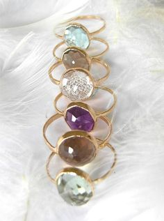 Beautiful Recycled 14k Gold, Stacking Gemstone