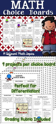 Choice Boards | Math | Differentiation | Projects & Activities | Students love to be able to make choices in their learning. So, why not let them! Choice Boards are a great tool to use in your classroom because they allow for differentiation along with choice. Students are encouraged to think critically and creatively through the use of Choice Boards...and they love them!