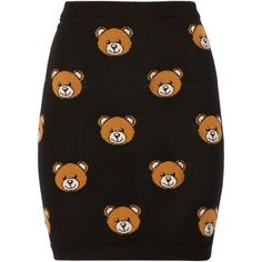 Moschino Bear-intarsia wool mini skirt ($325) ❤ liked on Polyvore featuring skirts, mini skirts, bottoms, moschino, black, short black mini skirt, wool mini skirt, elastic waist skirt and woolen skirts