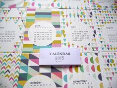 Calendar  2013   wall calendar 2013 geometric por mademoiselleyo, $15.00