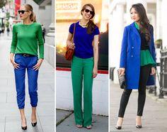 Looks com uma combinação de cores análoga: azul e verde