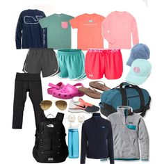 Camp packing by ellehorensky on Polyvore featuring Patagonia, Vineyard Vines, lululemon, The North Face, NIKE, Under Armour, Rainbow, Crocs, Tiffany & Co. and Ray-Ban