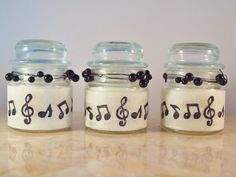 """3 Music Theme Wedding Favors, Candle Lighting, """"Musical Notes"""", by Green Orchid Design Studio Homemade Wedding Favors, Elegant Wedding Favors, Candle Wedding Favors, Candle Favors, Beach Wedding Favors, Cute Wedding Ideas, Sheet Music Crafts, Music Themed Parties, Green Orchid"""