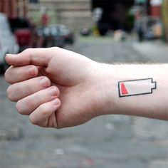 low battery temporary tattoo. woulda been appropriate if I wore one of those today.