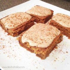 Pumpkin Protein Bars....  Not a fan of Xylitol,  I would prefer to use honey!  But, otherwise these look great!