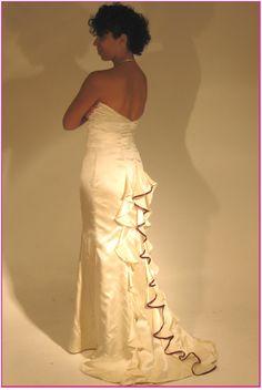 Dawn's Ruffle-Tailed Antique Silk Wedding Dress | Dangerous Mathematicians
