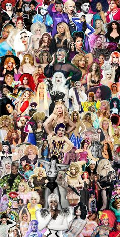 A beautiful collage of queens with the winners in the center