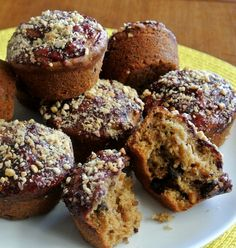 Peanut Butter Chocolate Chip Muffins not only taste great on their own they also have a blackberry syrup and chopped peanuts topping. Whoa!