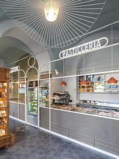 I Dolci Di Nonna Vincenza - Catania - Picture gallery Design Café, Kiosk Design, Bakery Design, Booth Design, Retail Design, Store Design, Architecture Restaurant, Hotel Restaurant, Restaurant Design