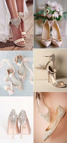 elegant neutral wedding shoes