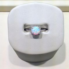 Sterling silver created opal October birthstone ring #jewelry #ring #October #opal