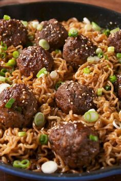 Turn that instant ramen into a real meal. Mongolian meatballs with ramen. Asian Recipes, Beef Recipes, Cooking Recipes, Ethnic Recipes, Chinese Recipes, Meatball Recipes, Turkey Recipes, Recipes Dinner, Gourmet