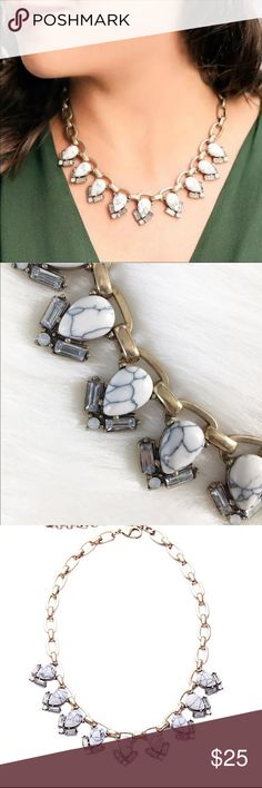 Statement Necklace Beautiful classic piece.Semi precious howlite with clear and white opal crystals. Antique gold plated. Brand new in package unbranded Jewelry Necklaces