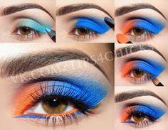 Orange blue colourblocking makeup tuto
