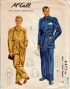 1940s McCall 4475 Vintage Sewing Pattern Men's Pajamas, Tailored Pajamas Size Medium by midvalecottage on Etsy