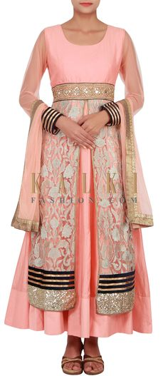 Buy Online from the link below. We ship worldwide (Free Shipping over US$100) http://www.kalkifashion.com/catalog/product/view/id/14843/s/peach-anarkali-suit-embellished-in-zari-embroidery-and-sequin-only-on-kalki/