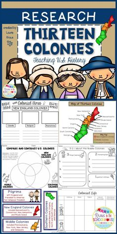 Students will learn and research about the 13 colonies. Graphic organizers will help students organize information that they learn about the New England Colonies, Middle Colonies, and Southern Colonies. Maps are provided for students to identify where the