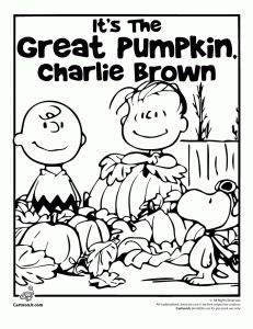 Charlie Brown Halloween Col 231x300 Its The Great Pumpkin Coloring Pages
