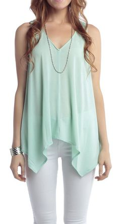 Tank with Lace Back love that summer-2013-seafoam-blue color