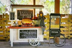 HAPPY | Chalkboard Popcorn Bar :: Barn Wedding - Pen N Paperflowers  {{no other word but adorable!}}