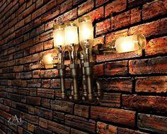 Muur Lamp. Flesjes bier. Sanitair pijp & van ZALcreations op Etsy