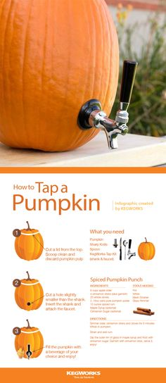 With simple equipment any ordinary pumpkin will do. 🎃 You can serve the beer, cider, or cocktail of your choice from a pumpkin keg. Perfect for Halloween, a fall party, or tailgating! Halloween Snacks, Halloween Cupcakes, Cocktails Halloween, Halloween Bebes, Hallowen Food, Looks Halloween, Halloween Tags, Holidays Halloween, Halloween Crafts