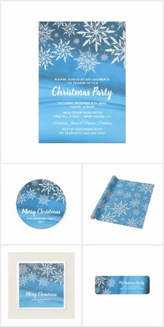 Winter Wonderland Snowflake Invitation Suite Christmas theme stationery featuring a winter ice blue background, sparkling white snowflakes and an editable text template.