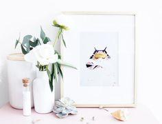 La minette masquée - geometric & graphical illustration - cat - watercolor Art Print - child's room , gold foil