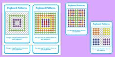 Teach your class how to copy patterns with the help of our pegboard for kids. Includes 18 patterns, helping to build fine motor skills and pattern recognition. Activity Sheets, Activity Games, Pegboard For Kids, Complex Numbers, Pattern Worksheet, Math Talk, Primary Resources, Skills To Learn, Card Patterns