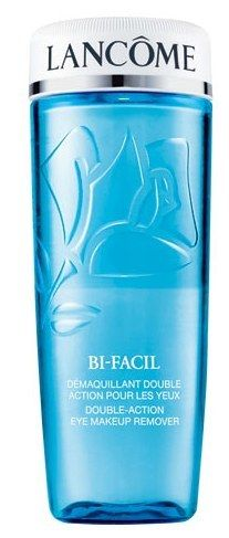 Lancôme's BI-FACIL Double-Action Eye Makeup Remover for removing stubborn waterproof mascara.