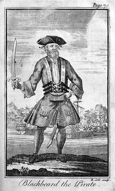 Edward Teach (c. 1680 – 22 November 1718), better known as Blackbeard, was a notorious English pirate who operated around the West Indies and the eastern coast of the American colonies. Teach captured a French merchant vessel, renamed her Queen Anne's Revenge, and equipped her with 40 guns. He became a renowned pirate, his cognomen derived from his thick black beard and fearsome appearance; he was reported to have tied lit fuses under his hat to frighten his enemies.