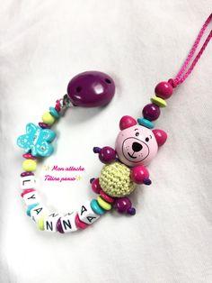 attache tétine personnalisée perles en bois ~ modèle ours violet turquoise fuschia vert anis : Puériculture par mon-attache-tetine-perso