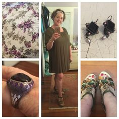 Olive dress with multi-colored snakeskin sandals by Earthies, a chunky purple and enamel cocktail ring, purple and pearl earrings, and a vintage silk scarf worn as a headscarf.