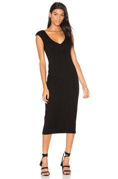 James Perse V Neck Dress in Black | REVOLVE