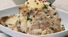 Costeletas de porco com molho de mostarda