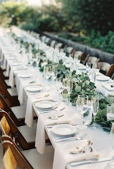 Wedding reception tablescapes - Top 15 So Elegant Wedding Table Setting Ideas for 2018 Page 3 of 3 – Wedding reception tablescapes Wedding Table Flowers, Wedding Table Settings, Wedding Colors, Long Table Wedding, Setting Table, Elegant Table Settings, Wedding Greenery, Wedding Bouquets, Reception Table