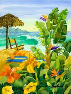 """Limited Edition Giclee Reproduction of 250 by one of our favorite CA artists, Robin Wethe Altman. This one is called Tropical Holiday    16"""" x 20""""    Tropical Holiday is a collectible museum quality reproduction printed on cotton rag paper with archival inks. The piece is hand signed and numbered by the artist"""