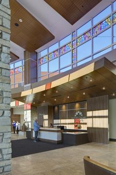 Another view of the two-story lobby.  Mount Carmel St. Ann's Hospital. ©Brad Feinknopf