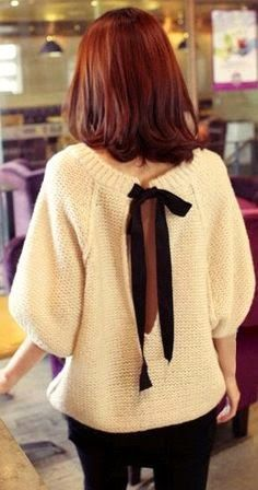 Open Bow Back Sweater. Love this simple alteration that will jazz up any shirt