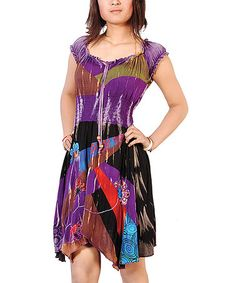 Take a look at this Purple & Black Patchwork Handkerchief Dress - Women by Rising International on #zulily today!