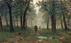 Ivan Shishkin, Rain in an Oak Forest, 1891, Russian Landscape painter.